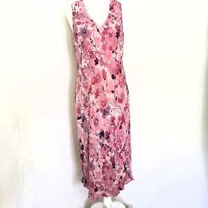 Ann Taylor 100% Silk Pink Floral Midi Dress